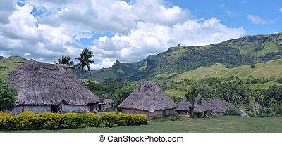 Navala Village Fiji - Panoramic view of Fijian bures in...