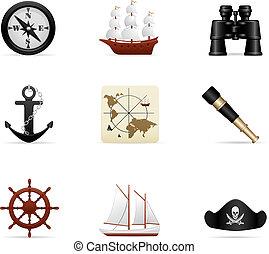 navale, viaggio, icona, set