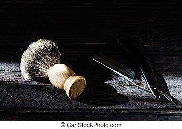 navalha, madeira, direito, escova, fundo, raspar, luxo