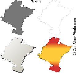 Navarre blank detailed outline map set - Navarre blank...