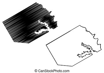 Navarro County, Texas (Counties in Texas, United States of America, USA, U.S., US) map vector illustration, scribble sketch Navarro map
