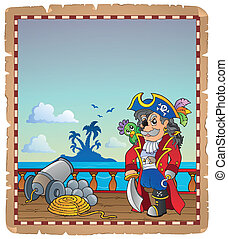 nave, 2, pergamena, pirata, ponte