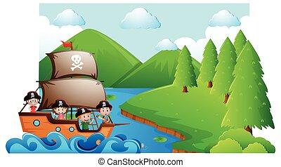 nave, bambini, scena, pirata