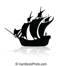 nave, bianco, nero, backroun, pirata