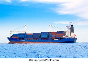 nave carico, con, contenitori, in, dep, blu, mare