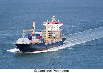 nave carico, con, contenitori, spostamento