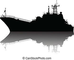 nave, dettagliato, silhouette, alto