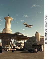 nave espacial, aterrizaje, en, futuro, ciudad, spaceport