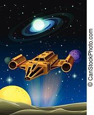 nave espacial, aterrizaje, en, planeta