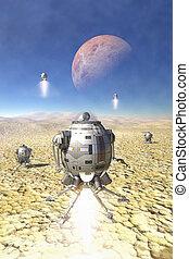 nave espacial, aterrizaje, en, un, desierto, planeta