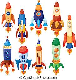 nave espacial, caricatura, ícone