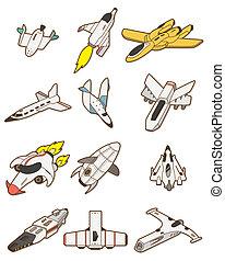 nave espacial, caricatura, icono
