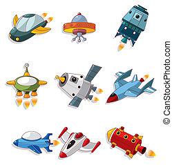 nave espacial, conjunto, caricatura, icono