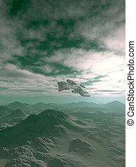 nave espacial, el volar encima, azul, colinas