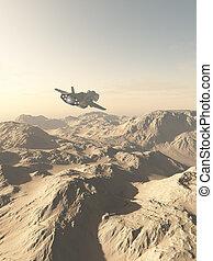 nave espacial, el volar encima, montañas, en, un, desierto, planeta