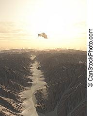 nave espacial, el volar encima, un, desierto, plan