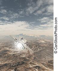 nave espacial, el volar encima, un, montaña cubierta de nieve, paisaje