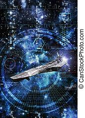 nave espacial, en, combate