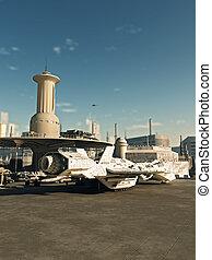 nave espacial, en, futuro, ciudad, spaceport