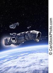 nave espacial, en la patrulla, encima, un, planeta