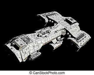 nave espacial, en, negro, frente, ángulo, vista