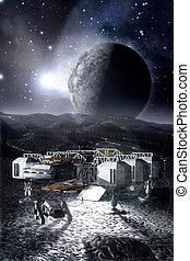 nave espacial, en, un, estéril, planeta