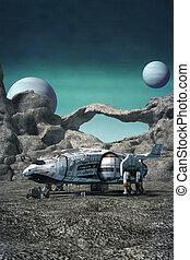 nave espacial, en, un, extranjero, planeta