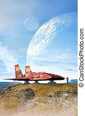 nave espacial, en, un, planeta, y, lunas