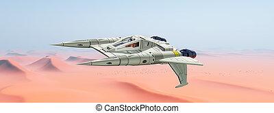 nave espacial, encima, un, arena, desierto