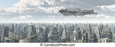 nave espacial, encima, un, ciudad