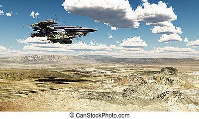 nave espacial, encima, un, paisaje del desierto