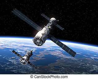 nave espacial, estación, espacio