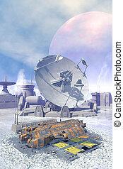 nave espacial, hacendado, en, un, congelado, avanzada