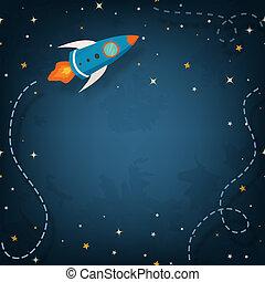 nave espacial, ilustração, (copyspace)