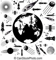 nave espacial, imagen, patrones