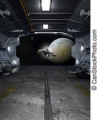 nave espacial, lanzamiento, de, un, interestelar, estación espacial