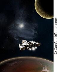 nave espacial, profundo, espacio