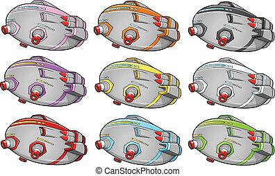 nave espacial, vector, nave espacial