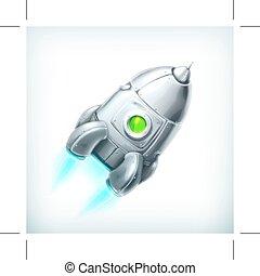 nave espacial, vetorial, ícone