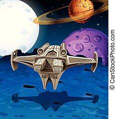 nave espacial, vuelo, en, el, espacio