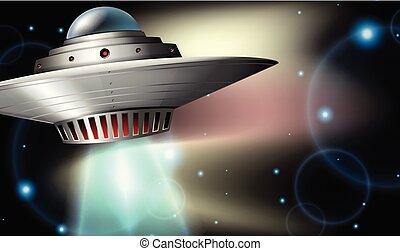 nave espacial, vuelo, en, oscuridad, espacio