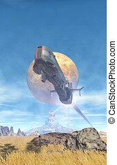 nave espacial, vuelo, encima, un, planeta