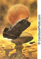 nave espacial, y, desierto, ciudad
