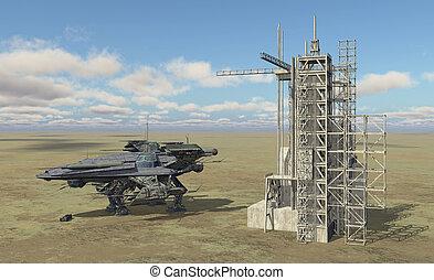 nave espacial, y, estación espacial, en, un, paisaje