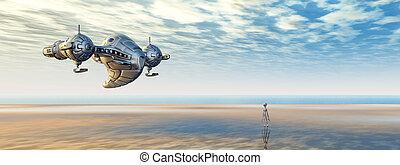 nave espacial, y, extranjero