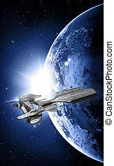 nave espacial, y, ocaso, en, espacio