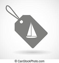nave, etichetta, icona