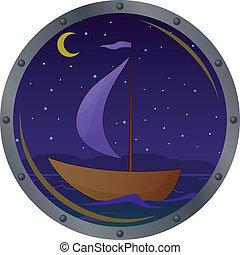 nave, galleggianti, notte