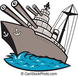 nave guerra, battleship, barca, con, grande, pistole