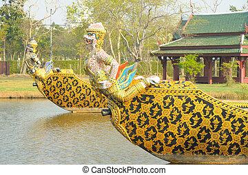 nave guerra, garuda, fiume, reale, galleggianti, thailand.